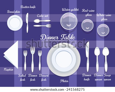 Proper Arrangement of Cartooned Cutlery on Dining Table with Abstract Violet Background Design. - stock vector