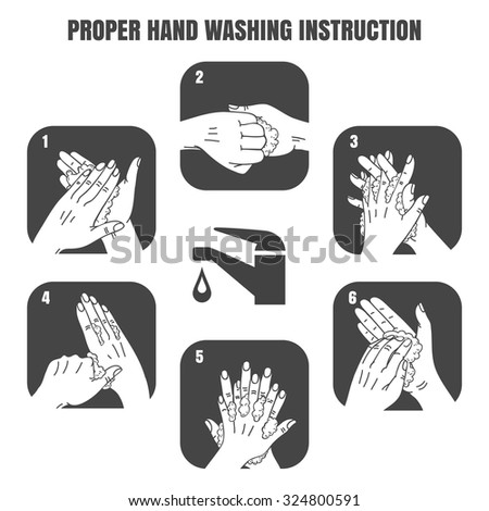 Proper hand washing instruction black vector icons set. Hygiene and health, sanitary design illustration - stock vector