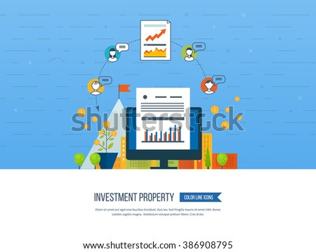 Property investment. Business diagram graph chart. Investment growth. Investment business. Financial strategy.  Smart investment, finance, banking, strategic management concept - stock vector