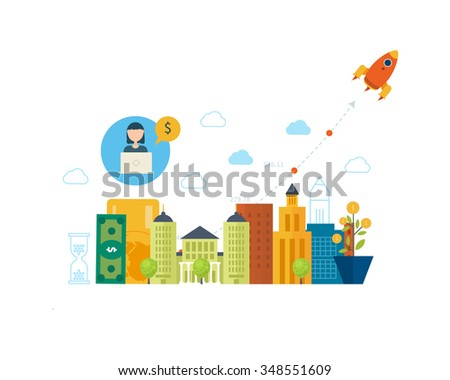 Property investment. Investment business. Financial strategy concept. Business development, strategic management, finance, banking, market data analytics concept  - stock vector