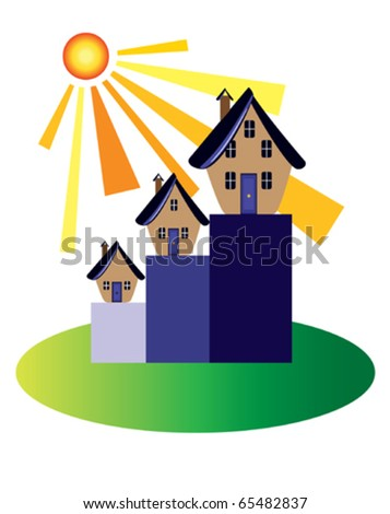 Property market booms The sun shines on the property market - stock vector