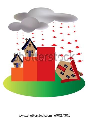 Property market crash - stock vector
