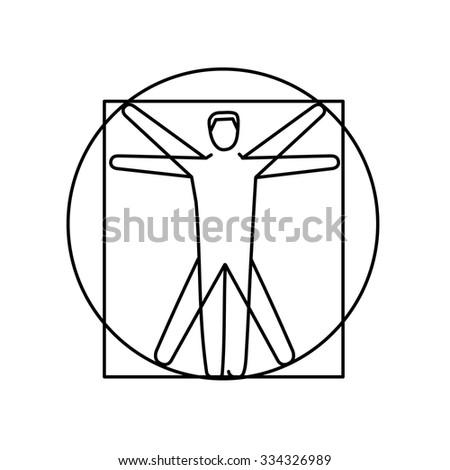 Proportion of human body black linear icon on white background | flat design alternative healing illustration and infographic - stock vector