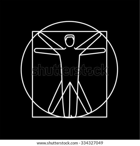 Proportion of human body white linear icon on black background | flat design alternative healing illustration and infographic - stock vector