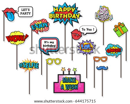 Props for photos Booth on Happy Birthday party, featuring cute and funny costume, doodle comic speech bubble on isolated white background. Vector illustration collection.