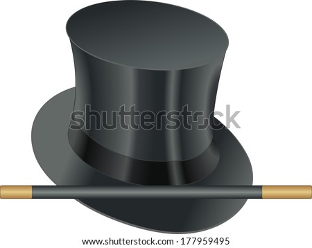props of illusionist, hat and magic wand - stock vector