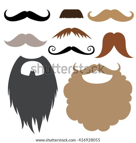 Props set.  Mustache and beard.  Mustache and beard party birthday photo booth props. Vector illustration photo booth props.  - stock vector