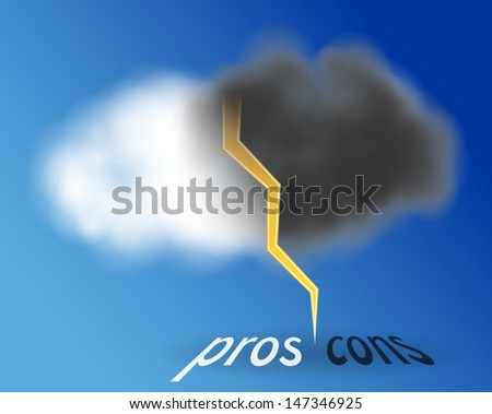 Pros and cons inside cloud. One half of the cloud is white and other half is black rainy. - stock vector