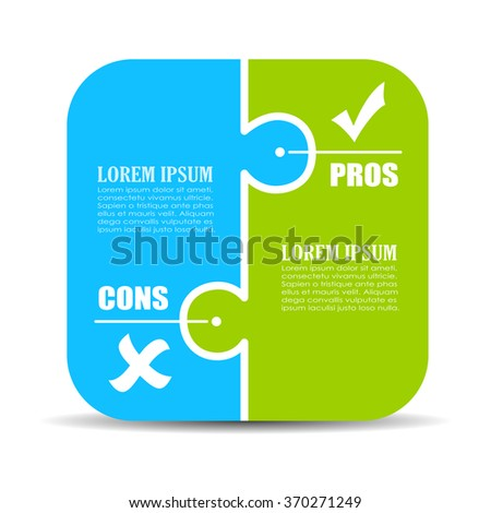 Pros and cons puzzle diagram illustration isolated on white background - stock vector