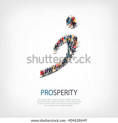 prosperity people sign - stock vector