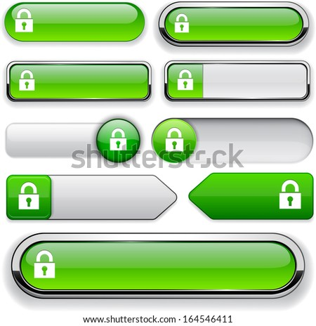 Protect green design elements for website or app. Vector eps10. - stock vector