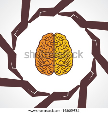 Protect  human knowledge concept - vector illustration - stock vector