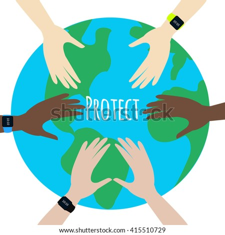 Protect Our Environment. World Environment Day. Hands protect the earth globe on white background. Saving the earth concept. Earth Day illustration. - stock vector