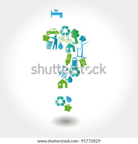 Protect the Earth: environment symbols on clean earth