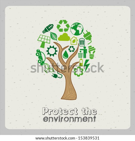 protect the environment over gray background vector illustration  - stock vector