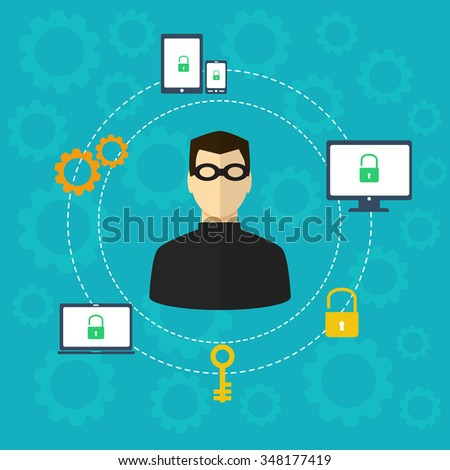 Protection against hacker concept. Vector illustration - stock vector