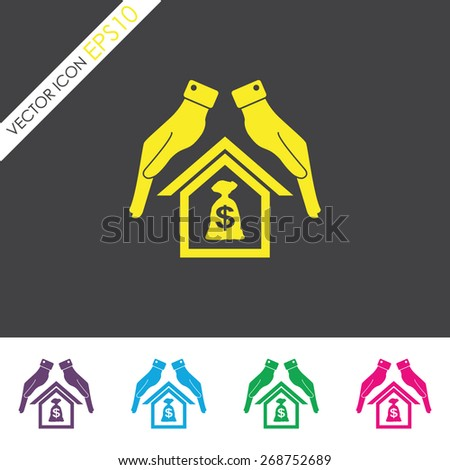 Protection and mortgage vector icon. - stock vector