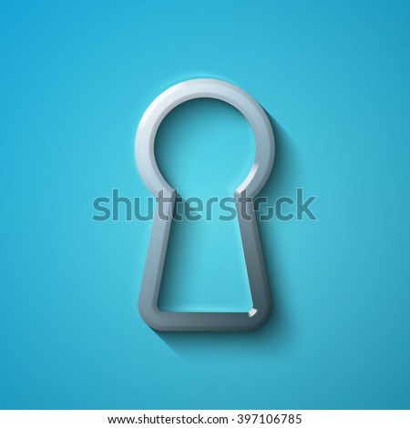 Protection concept: flat metallic Keyhole icon, vector - stock vector