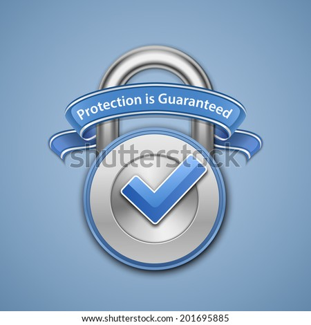 Protection is guaranteed sign. Security Concept. Vector illustration of metallic padlock with check mark and label - stock vector