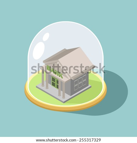 Protection of Bank. bank Isometric  Building Vector - stock vector