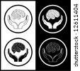 Protection of brain. Vector medical icons. Black and white. Simply change. - stock