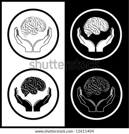 Protection of brain. Vector medical icons. Black and white. Simply change. - stock vector