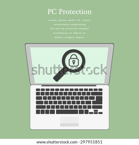 protection of computer design. Laptop with a magnifying glass with a lock in the center. Stock vector - stock vector