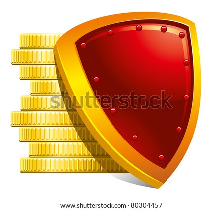 Protection of money and payments. Detailed vector illustration. - stock vector