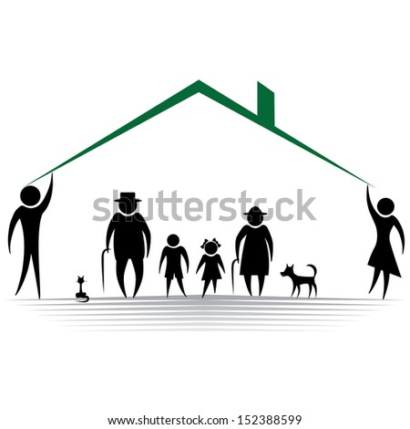 Protection people silhouette family icon. Person vector woman, man. Child, grandfather, grandmother, dog, cat, baby buggy, carriage. Home illustration. - stock vector