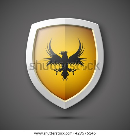 Protection shield concept Coat of arms. Safety badge icon. Privacy banner. Security label. Defense tag. Presentation sticker shape. Defense sign. Vector illustration - stock vector