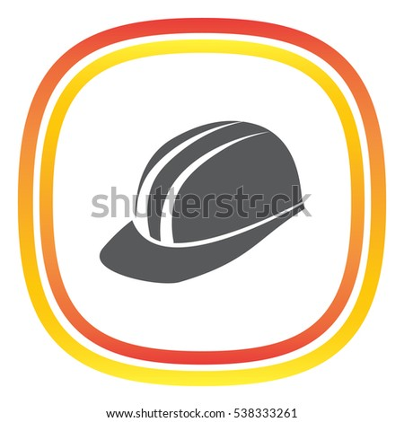 Protective helmet vector icon. Construction head wear sign. Worker protective headgear symbol