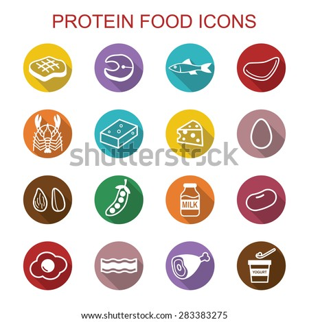 protein food long shadow icons, flat vector symbols - stock vector