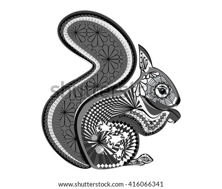 Protein. Style hand drawn zentangle, coloring book, tattoo, t-shirt design, logo, anti-stress adult coloring pages with high detail isolated on white background. Vector monochrome sketch.