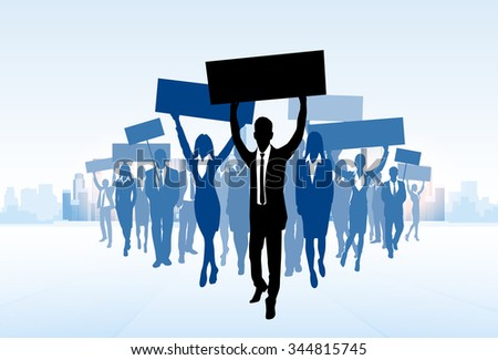 Protest Business People Crowd Silhouette, Man Holding Flag Banner Walk Forward Vector Illustration - stock vector