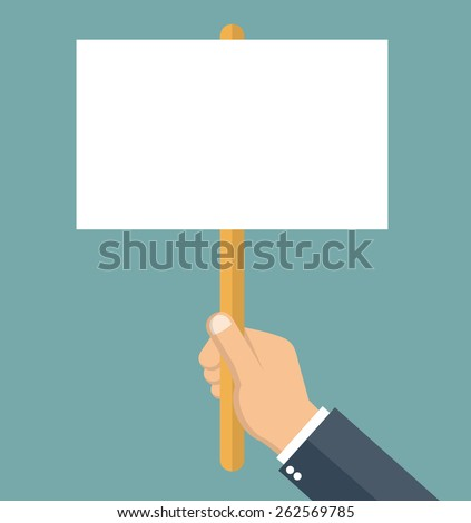 Protest concept - hand holding blank protest board in flat style
