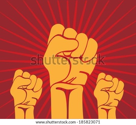 Protest fist on red background