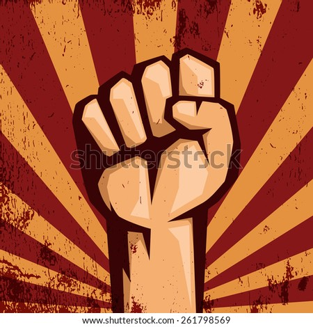 Protest logo. Retro style. Hand popular protest.