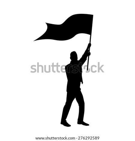 Protest Man Silhouette, Businessman Holding Flag Vector Illustration - stock vector