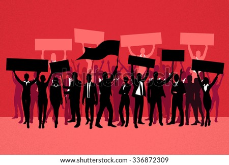Protest People Crowd Silhouette Over Red Background, Man Holding Flag Banner Vector Illustration - stock vector