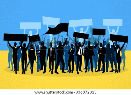 Protest People Crowd Silhouette Over Ukraine National Flag, Man Holding Flag Banner Vector Illustration - stock vector