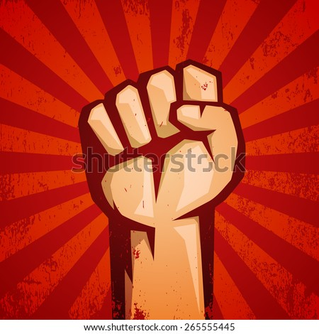 Protest red logo. Fist raised up. - stock vector