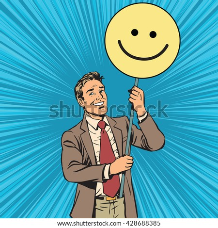 Protester with a poster Emoji smiley - stock vector