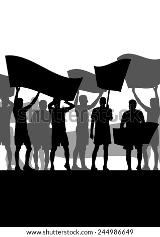 Protesters angry people crowd with posters and flags in abstract riot landscape background illustration - stock vector