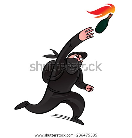 Protestor - the demonstrator threw Molotov cocktail - stock vector