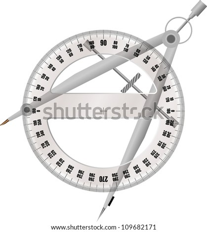 protractor and compass - stock vector