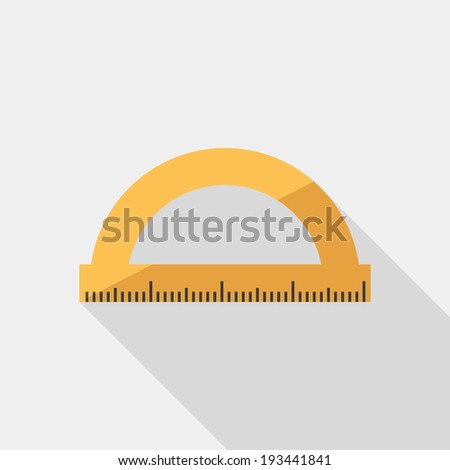 Protractor icon. Flat design style modern vector illustration. Isolated on stylish color background. Flat long shadow icon. Elements in flat design. - stock vector