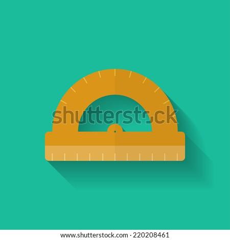 Protractor icon. Flat style. - stock vector