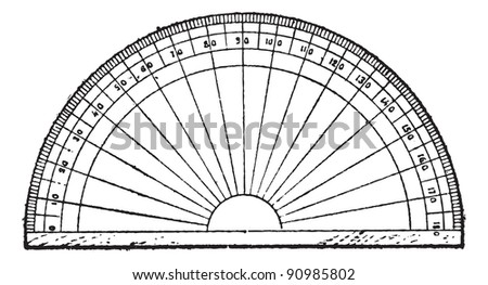 Protractor isolated on white, vintage engraved illustration. Dictionary of words and things - Larive and Fleury - 1895. - stock vector