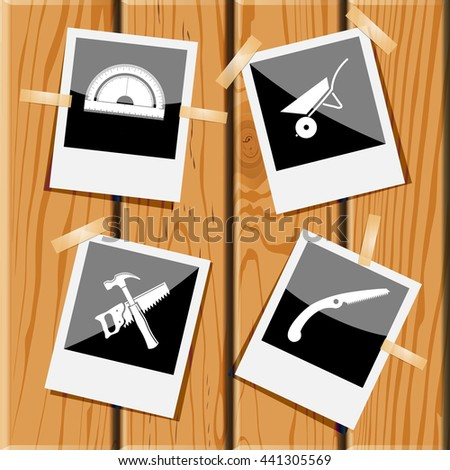 protractor, wheelbarrow, hand saw and hammer. Industrial tools set. Photo frames on wooden desk. Vector icons. - stock vector