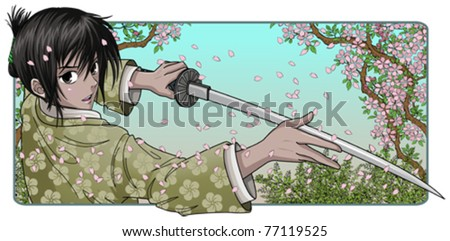 Proud Samurai Holding Katana - Nature Background - stock vector